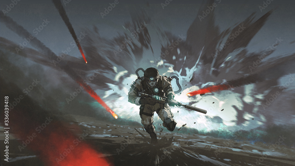 Fototapeta futuristic soldier running away from giant explosion, digital art style, illustration painting