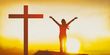 Easter Christian Cross Woman P...