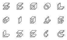 Steel Beam Vector Line Icons. ...