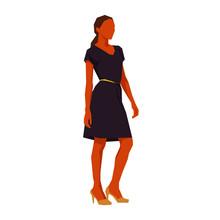 Businesswoman Standing In Purple Dress, African American Woman, Flat Design Geometric Vector Illustration