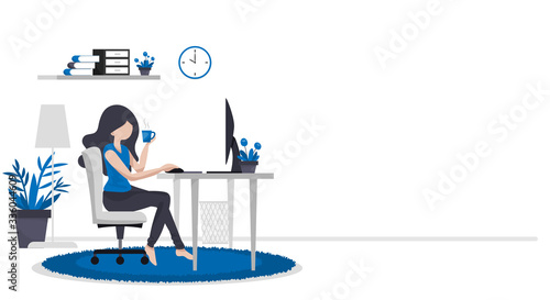 Carta da parati Work form home or work at home concept background of woman working with computer on table in room at her home with a cup of coffee with your copy space