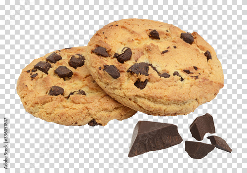Vászonkép Chocolate chip cookies with chocolate parts or morsels on isolated background