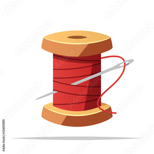 Cuadros en Lienzo Spool of thread and sewing needle vector isolated illustration