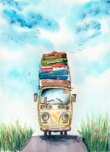 """Watercolor Illustration Of A Little Old Yellow Van With Lots Of Baggage, Suitcases Boxes On The Roof And With Small Teddy Bear On A Window And With Sign """"summer"""" And Heart"""