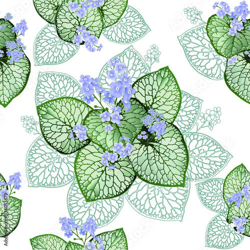 Beautiful openwork brunners leaves and cute dandelions. Summer light background with bright decorative flowers and leaves. Textile composition, template for the design of print, fabric, wallpaper. #336053679