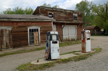 Old Gas Station In Virginia City Ghost Town , Montana