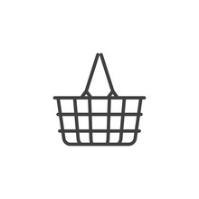 Shopping Basket Line Icon. Linear Style Sign For Mobile Concept And Web Design. Wire Basket Outline Vector Icon. Symbol, Logo Illustration. Vector Graphics