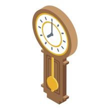 Antique Pendulum Clock Icon. Isometric Of Antique Pendulum Clock Vector Icon For Web Design Isolated On White Background