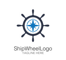 Ship Wheel Logo Vector Design Concept