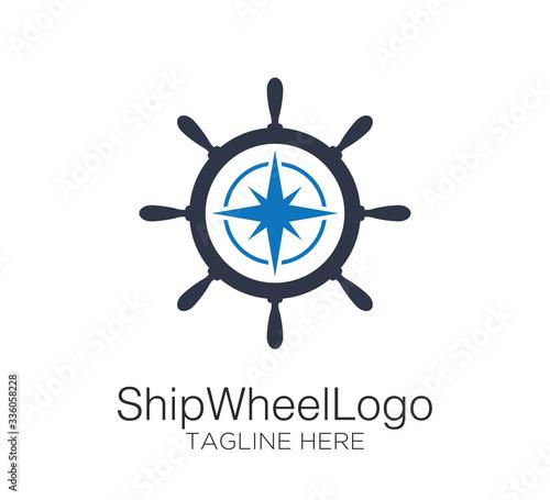 Fotomural ship wheel logo vector design concept