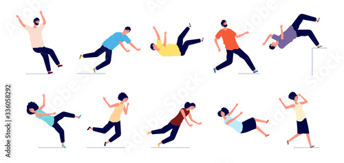 Falling man. People fall from stairs, slip and stumble. Safety persons, dangerous trauma. Young women men accidents vector illustration. Stumble and danger accident, fall man or woman - fototapety na wymiar