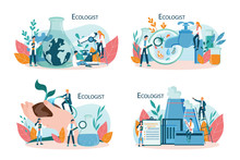Ecologist Taking Care Of Earth And Nature Concept. Set Of Scientist