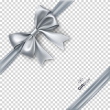 Silvery Gift Bow From Satin Ta...