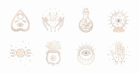 Mystic boho logo, design elements with moon, hands, star, eye, crystal bottle, ball future. Vector magic symbols isolated on white background