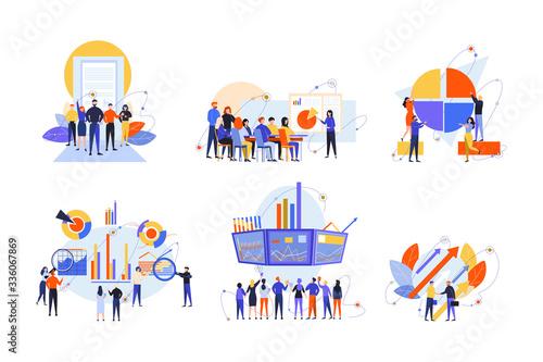 Fototapeta Stock trading, stakeholder, investment, analysis, business set concept obraz