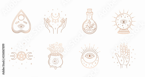 Canvas Print Mystic boho logo, design elements with moon, hands, star, eye, crystal bottle, ball future