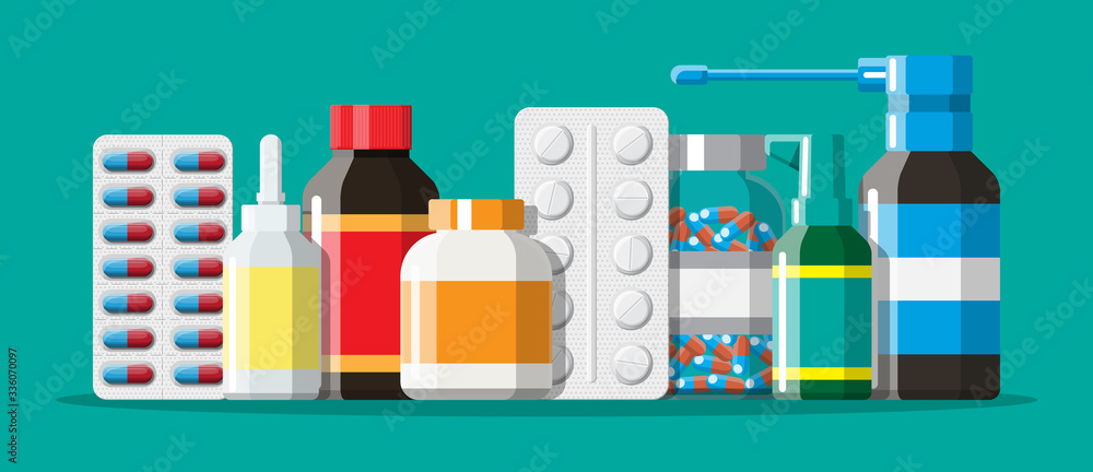 Fototapeta Medicine collection. Set of bottles, tablets, pills, capsules and sprays for illness and pain treatment. Medical drug, vitamin, antibiotic. Healthcare and pharmacy. Vector illustration in flat style