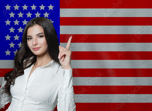 Woman with thumb up. Education or business concept Canvas Print