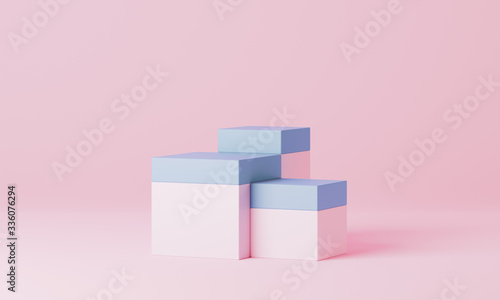 Fototapeta Clean product pedestal or podium, abstract minimal concept, blank space mockup scene