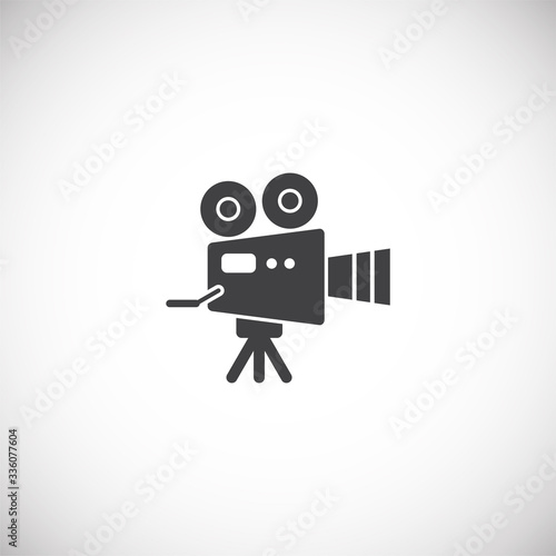 Valokuvatapetti Videography related icon on background for graphic and web design