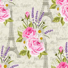 Seamless Floral Pattern With Eiffel Towers On Vintage Postcard Background. Vector Illustration
