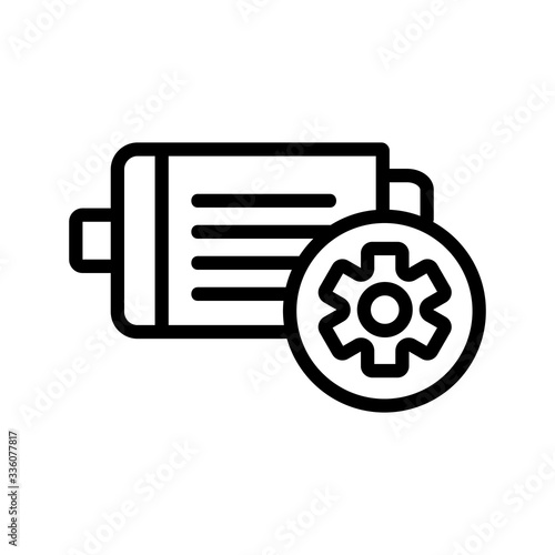 Valokuva electric motor industrial icon vector