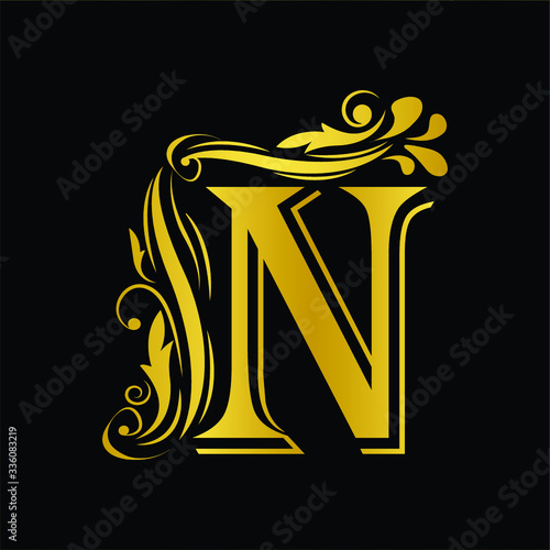 Photo Gold letter N
