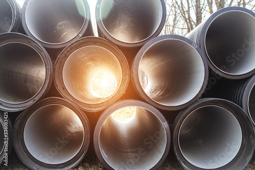 Photo Modern polypropylene pipes for conducting heating mains underground