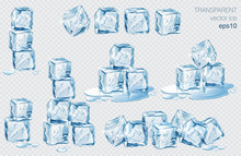 Set Of Blue Ice Cubes. Realist...