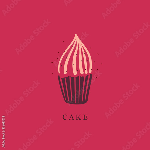 Cupcake flat vector illustration. Cupcake logo for a pastry shop, cafe. Contour, stylish cupcake logo. Cupcake Icon. Illustration for the menu. Vector logo design template
