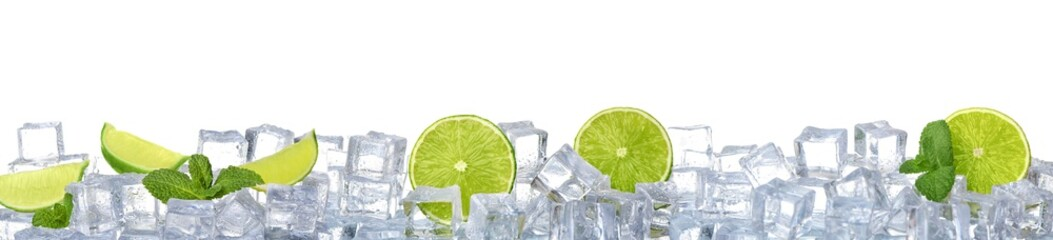 Ice cubes, mint and limes on white background. Banner design