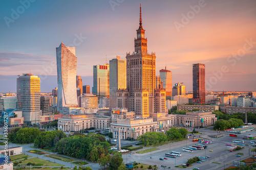 Fototapety, obrazy: Warsaw, Poland. Aerial cityscape image of capital city of Poland, Warsaw during sunrise.