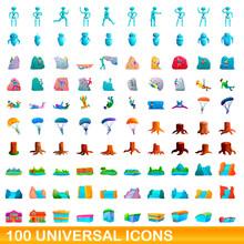 100 Universal Icons Set. Carto...