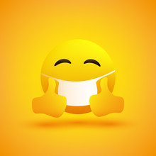 Simple Emoticon With Closed Eyes, Showing Thumbs Up And Wearing Medical Mask - Vector Design On Yellow Background