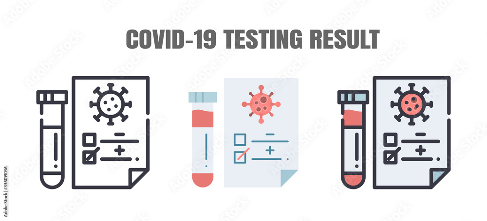 Fototapeta Testing Result of Covid-19 Patients is Negative or Positve. The Coronavirus Disease 2019 Infection Treatments. Line outline, Flat, Filled Icons Set. Editable Stroke.