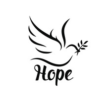Hope Icon With Dove And Olive Leaf. Peace Symbol. Vector Illustration.