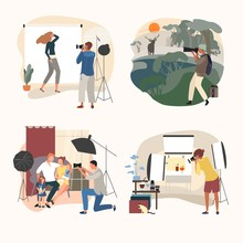 Studio Or Outdoor Photographer Vector Illustration. Cartoon Flat Adult People With Camera Make Photo, Man Woman Character Take Angle. Studio Outdoor Commercial Photography Set Isolated On White