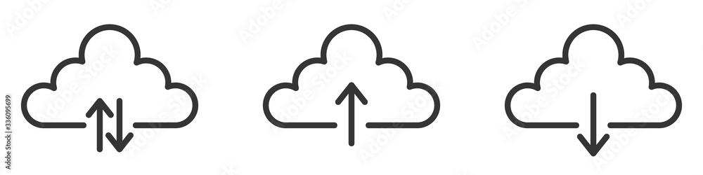 Fototapeta Download cloud icons set. Vector illustration.