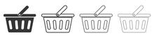 Set Of Shopping Basket Icons. Vector Illustration.