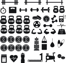 Gym Workout Vector Icon Set, W...