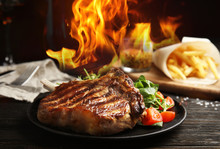Tasty Beef Steak And Flame On ...