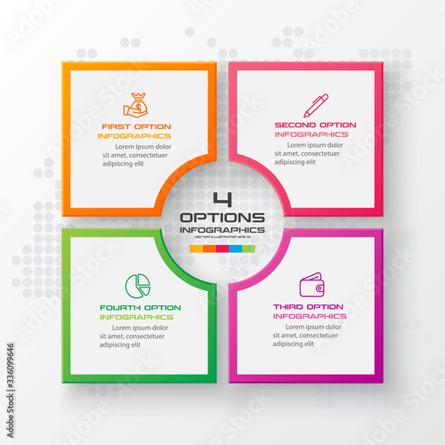 Fototapeta Business infographics template 4 steps with square,Element for design invitations,Vector illustration. obraz