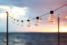 String Lights During Sunset. S...