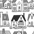 Hand drawn vector seamless pattern. Flat lovely houses. Cozy home, homestead, cottage, villa. Black contour drawing. Monochrome background for design, coloring, wallpaper, textile, fabric, print, wrap