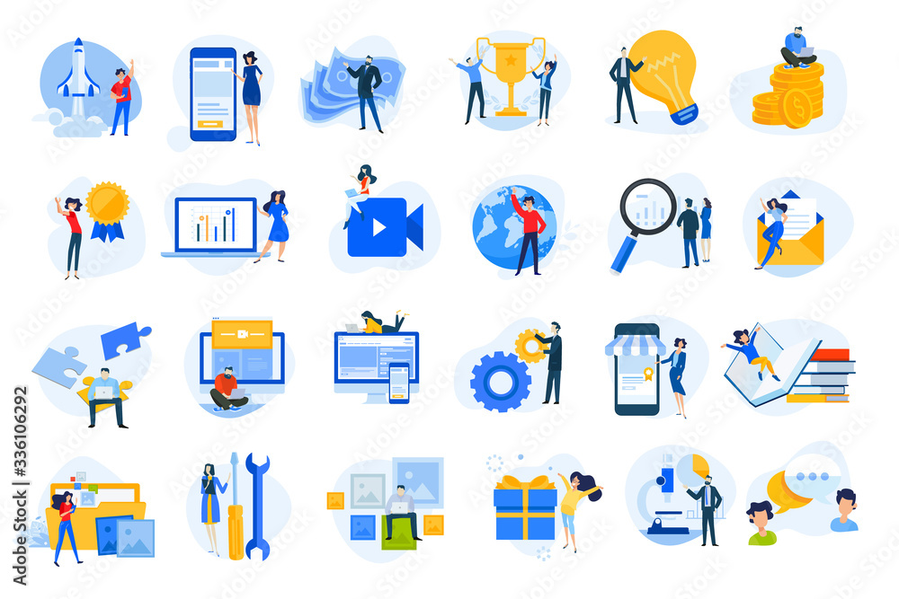 Fototapeta Flat design concept icons collection. Vector illustrations for startup, graphic and web design and development, app, finance, social media, business, marketing, m-commerce, education.