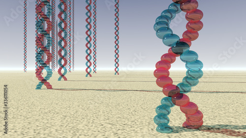 Photo Abiogenesis; whimsical rendering of nucleic acid helices emerging from the groun