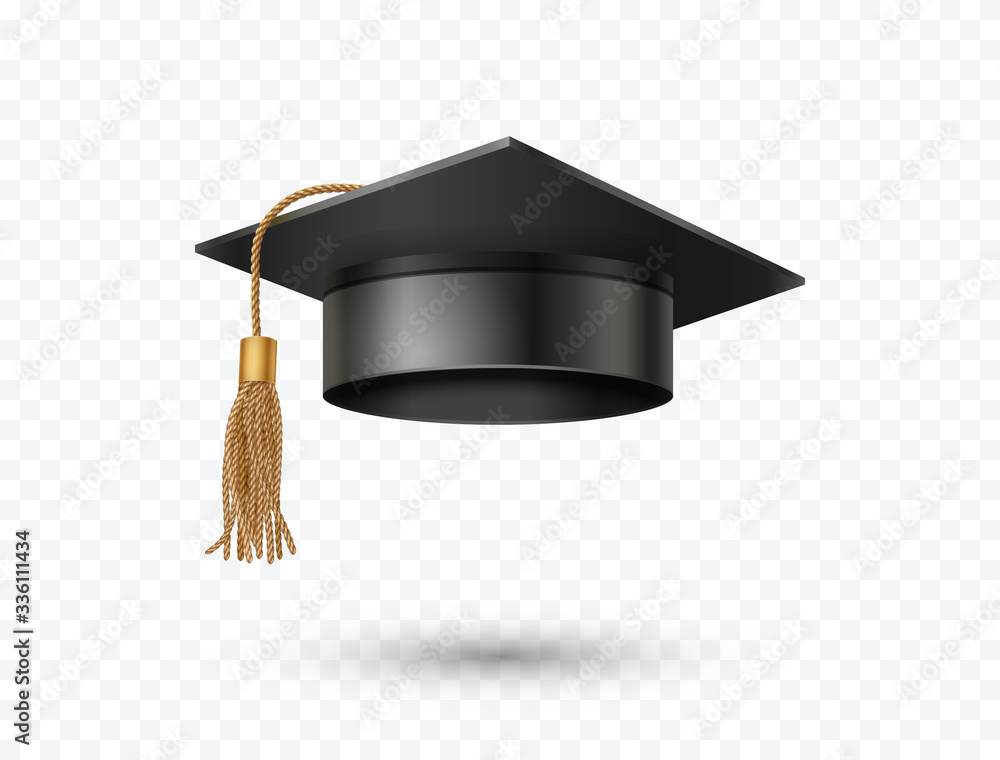 Fototapeta Graduate college, high school or university cap isolated on transparent background. Vector 3d degree ceremony hat with golden tassel. Black educational student icon.