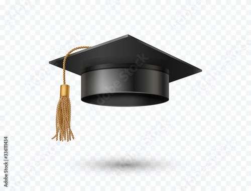 Fototapeta Graduate college, high school or university cap isolated on transparent background. Vector 3d degree ceremony hat with golden tassel. Black educational student icon. obraz