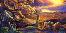 Impressionism Scenery. Mountain, Tree, River. Fantasy Backdrop. Concept Art. Realistic Illustration. Video Game Digital CG Artwork Background. Nature Scenery.