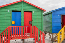 Colorful Beach Huts At The Beach